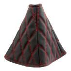 モコモコシフトブーツカバー ヌバック ブラック/赤糸