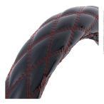 ハンドルカバー 極太ダブルステッチ 【ML】 モコモコ 黒/赤糸