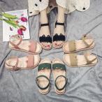 サンダル ウェッジソール レディース 厚底 ゴム シューズ 歩きやすい 疲れない  美脚 可愛い 夏 4色 ローマ靴の画像