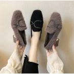 ファーシューズ レディース パンプス ハイヒール  カジュアル アウトドア 太めヒール 暖かい 可愛い 二次会 お呼ばれ 冬靴 歩きやすい