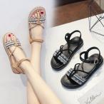 サンダル  レディース ウェッジソール ストラップ ビーチサンダル ぺたんこ 歩きやすい 疲れない  美脚シューズ   夏 2色 ローマ靴の画像