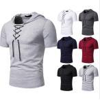Tシャツ メンズ 半袖  トップス hip-hop ヒップホップ スタイル  クルーネック 帽子付き カジュアル 夏 tシャツ シンプル