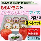 (要冷凍)(箱入り!送料・ギフト包装無料)ももいちご&さくらももいちごアイス 選べる12個セット 送料無料