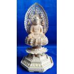 木彫仏像 釈迦如来座像飛天光背八角台2.0寸柘植   ツゲ 送料無料