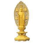 木彫仏像 釈迦如来立像(四菩薩光背)八角台6.0寸桧木(受注生産)  ひのき 送料無料