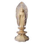 木彫仏像 阿弥陀如来立像草光背八角台5.0寸桧木  ひのき 送料無料(受注生産)