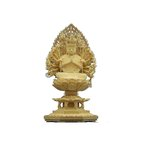 仏像 彫刻 木材千手観音座像飛天光背八角台2.5寸桧木 ひのき 送料無料