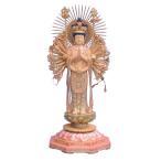 仏像 仏像 千手観音立像 放射光背八角蓮台5.0寸桧木ヒノキ木彫彩色(受注生産)