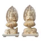 木彫仏像 文殊(獅子座)・普賢(象座合掌形)菩薩一対2.0寸飛天光背桧木 ヒノキ(受注生産)