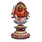 仏像 彫刻 木材 馬頭観音座像火炎光背八角台2.5寸桧木    ひのき彩色 送料無料