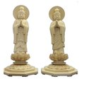 木調仏像 日光・月光菩薩(合掌形) 身丈4.0寸桧木