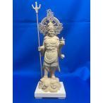 木彫仏像 毘沙門天立像法輪光背5.0寸桧木     ひのき 送料無料