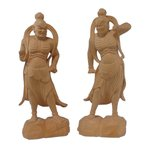 木彫仏像 少林寺型仁王像6.0寸一対桧木   ひのき 送料無料(受注生産)