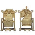 木彫仏像 達磨 大権大師21cm一対桧木 置物 インテリア 工芸