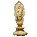 仏像 木彫り 聖観音菩薩立像草光背八角台身丈1尺総高60cm桧木(受注生産)