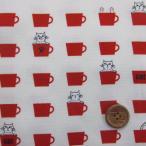 カップと猫(Cup&Cat)柄 (赤) オックス生地