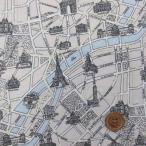 エッフェル塔・パリ市街地図柄 シーチング生地