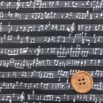 楽譜・音符柄 (黒) ブロード生地