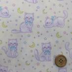 バニラポップラメ ネコ柄猫 (生成り) シーチング生地