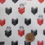 本と猫(book&cat)柄  オックス生地  ラミネート