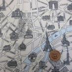 エッフェル塔・パリ市街地図柄 シーチング生地 ラミネート