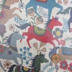 綿麻ハーフリネン 10番オックス 北欧風 馬柄ボーダー(生成り) ラミネート
