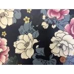 和柄 QUILT GATE 【 花と黒猫 】ねこ ラメ入り  シーチング生地 (紫)ラミネート