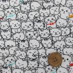 ねこちゃんいっぱい柄  猫 (白)オックス生地   ラミネート