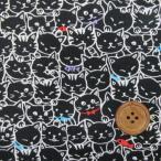 ねこちゃんいっぱい柄  猫 (黒)オックス生地§