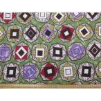 Yahoo!ともや手芸店値下げしました!アフリカン スタイル 幾何学 シーチング生地 (グリーン)