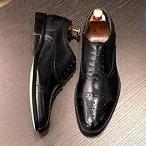 デザート フォクスセンス Foxsense ビジネスシューズ 紳士靴 内羽根 ストレートチップ ウイングチップ 革靴 本革 ブラック 25.