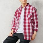 チェックシャツ メンズ 7分袖 シャツ 七分袖 マドラスチェック柄 オンブレーチェック 半袖 夏