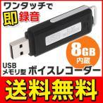 ◆メール便送料無料◆ ワンタッチで即録音!ボイスレコーダー+USBフラッシュメモリ 8GB内蔵 長時間録音対応 ボイレコ ◇ USBメモリ型ボイスレコーダー 8GB
