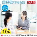 [10枚セット][あすつく] [日本製] 飛沫防止 透明樹脂パーテーション W600*H450mmデスク用仕切り板  コロナウイルス対策 受付カウンター tap-600m-10set