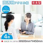 [4枚セット][あすつく] [日本製] 飛沫防止 透明樹脂パーテーション W600*H450mmデスク用仕切り板  コロナウイルス対策 受付カウンター tap-600m-4set