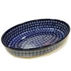 ポーランド食器 ポーリッシュポタリー 「ボレスワヴィエツ」 オーバルグラタン皿大 GU349-226A 藍地×白小花
