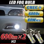 CREE製 LEDバルブ H3型 フォグランプ 80W 6000K ホワイト 2個set プロジェクター レンズ ハイパワーバルブ CREE社XB-Dチップ 16連 フォグバルブ 白 2球セット