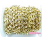 Yahoo! Yahoo!ショッピング(ヤフー ショッピング)高級ガラス製ダイヤチェーン ゴールド台座 ライトピンク石 (10cm)