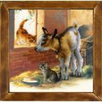 RIOLISクロスステッチ刺繍キット No.0053 PT 「Goatling and Kittens」 (山羊と猫 ヤギとネコ) 【プリント済みキット】 【取り寄せ/納期1〜2ヶ月】