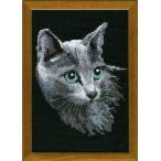 RIOLISクロスステッチ刺繍キット No.764 「Russian Blue」 (ロシアンブルー ネコ 猫)