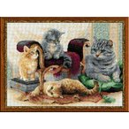 RIOLISクロスステッチ刺繍キット No.1327 「Feline Family」  (猫の家族 ネコ) 【海外取り寄せ/納期30〜60日】