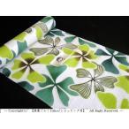 竺仙 浴衣 綿絽 白地に緑/グリーン系 つるききょう 蔓桔梗