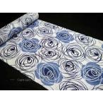 注染浴衣 反物 白地に薔薇づくし 濃紺 水色 ばら 白紺ゆかた
