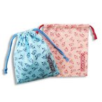 超特価2枚セット・おしなりくん「巾着ポーチ」(ブルー・ピンク2枚セット)