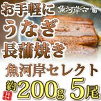 【送料無料】厳選鰻蒲焼約200g×5尾
