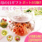 花茶 カーネーション 母の日 工芸茶 HARIO 日本製 ガラスポット セット お茶 中国茶 ジャスミン 観賞用ポット付 ギフト