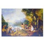 絵画 壁掛け 額縁 アートフレーム付き アントワーヌ・ヴァトー 「シテール島での愛の巡礼」 P50号 世界の名画シリーズ プリハード