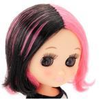 おでこちゃんとニッキ パンクミディかつら ピンク×ブラック