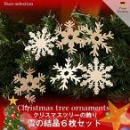 クリスマスツリーの飾り オーナメント 雪の結晶6枚セット ドイツの木のおもちゃ