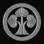 家紋 蒔絵シール 家紋ステッカー 「丸に立葵」 銀